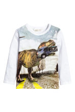 Long-sleeved T-shirt - White/Dinosaur - Kids | H&M 2